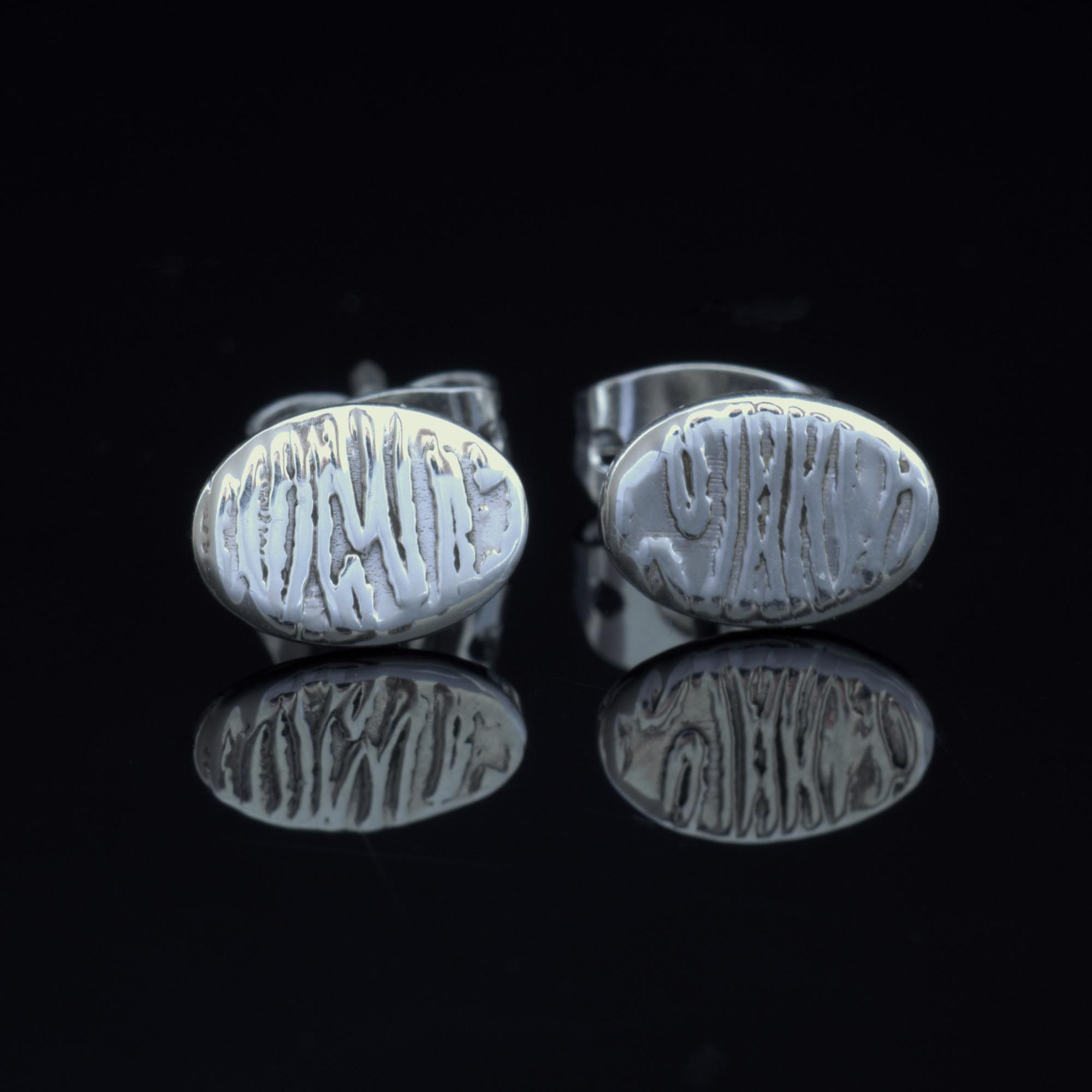 Litet Frö: Örhängen sterling silver, oval med randig finish