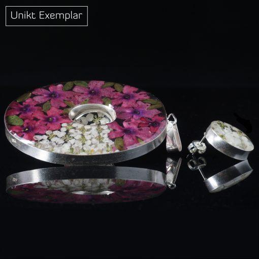 Oval Natur: kombinaiton av berlock och örhängen. Blommiga smycken med sterling silver ramar och harts