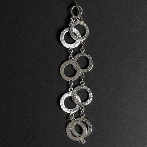 Achernar: Armband sterling silver, med ringar, hamrad finish