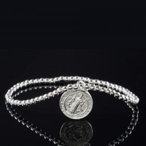 San Benito: Armband sterling silver, små bollar, med glansig finish