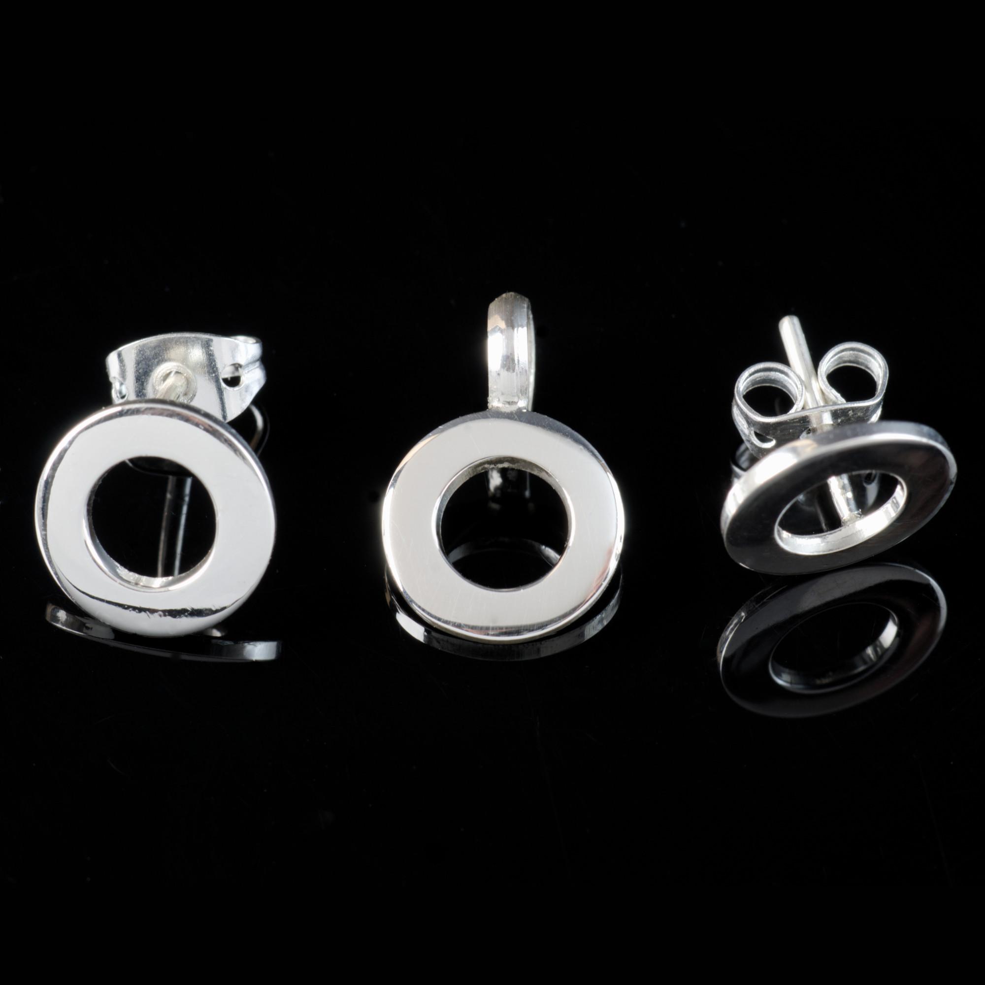 Vega: Kombination med berlock och örhängen, cirkel med glansig silver finish