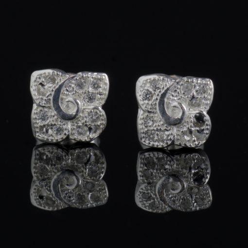 Eri: Örhängen sterling silver, kvadrat, hamrad finish