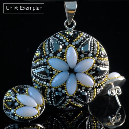 Francesca - Kombination med berlock och örhängen, blå, grå, silver