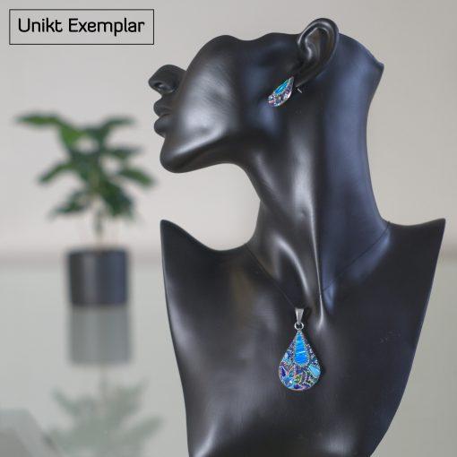 Sofia - Kombination med berlock och örhängen, blå, grön, röd