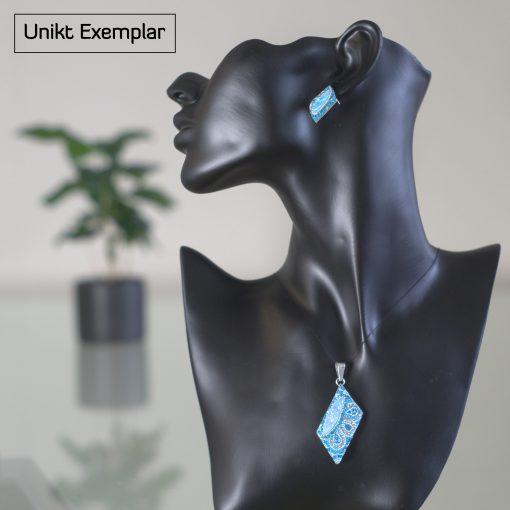 Salma - Kombination med berlock och örhängen, blå, silver