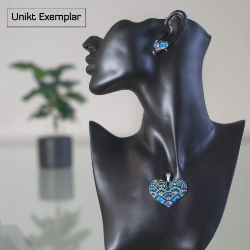 Daniela - Kombination med berlock och örhängen, blå, gul, silver