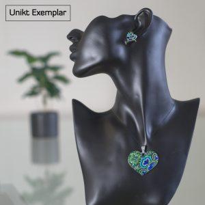 Alessia - Kombination med berlock och örhängen, grön, blå, gul