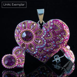 Maria - Kombination med berlock och örhängen, rosa, röd, vit