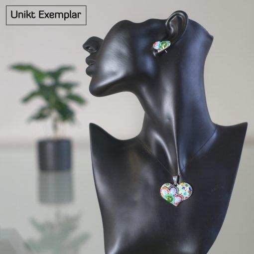 Fiorella - Kombination med berlock och örhängen, blå, rosa, grön
