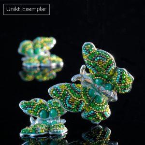 Lucia - Kombination med berlock och örhängen, grön, gul, silver