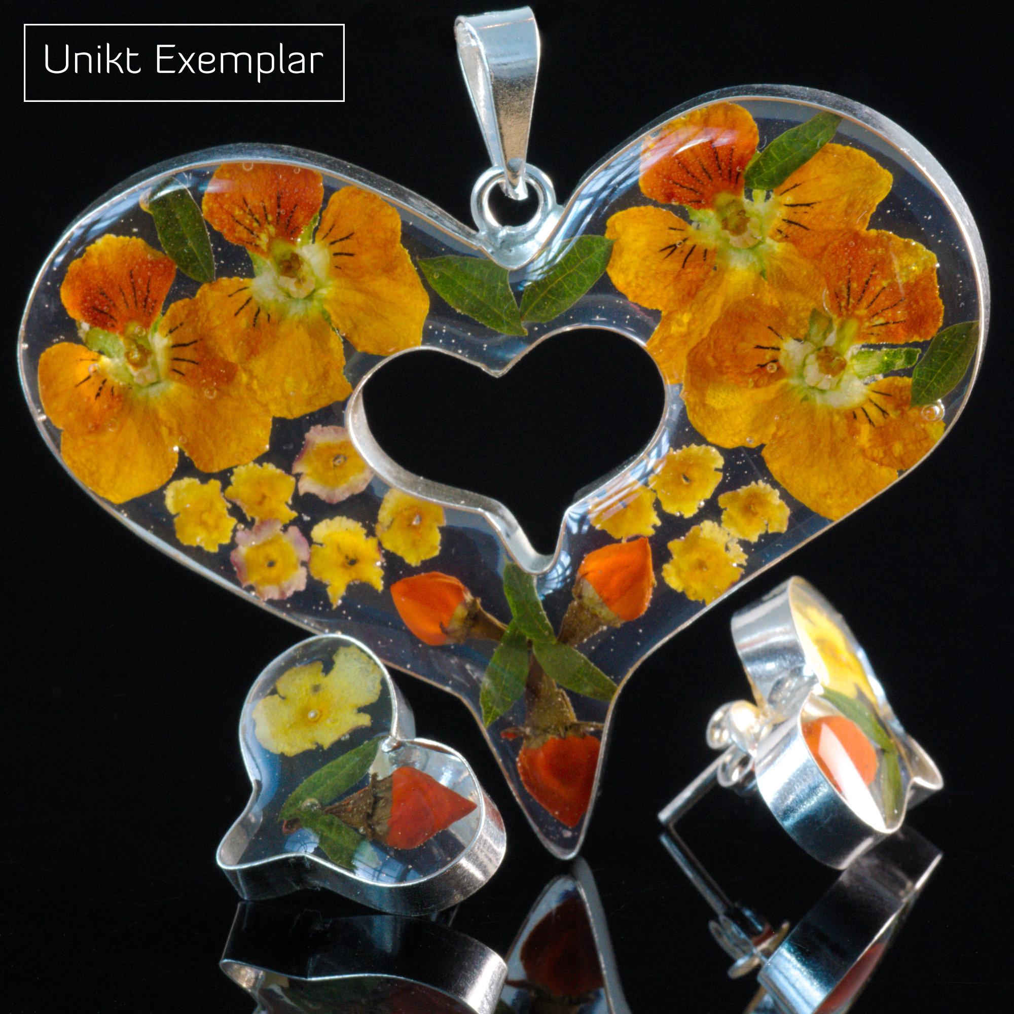 Violeta - Kombination med berlock och örhängen, orange, gul, röd