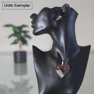 Irene - Kombination med berlock och örhängen, vit, röd, grön