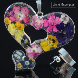 Martina - Kombination med berlock och örhängen, rosa, mörk blå, gul