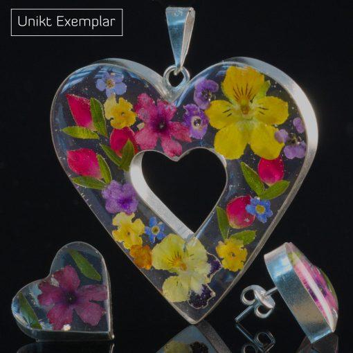 Isabella - Kombination med berlock och örhängen, gul, rosa, röd, lila, blå