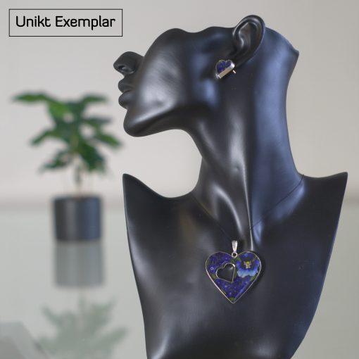 Helena - Kombination med berlock och örhängen, mörk blå, grön