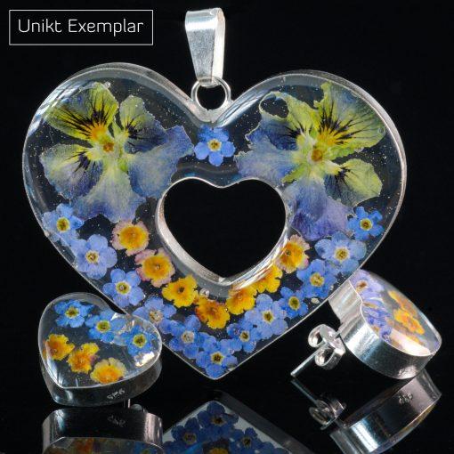 Cora - Kombination med berlock och örhängen, blå, orange