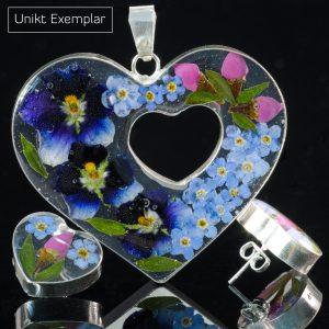 Renata - Kombination med berlock och örhängen, blå, lila, grön