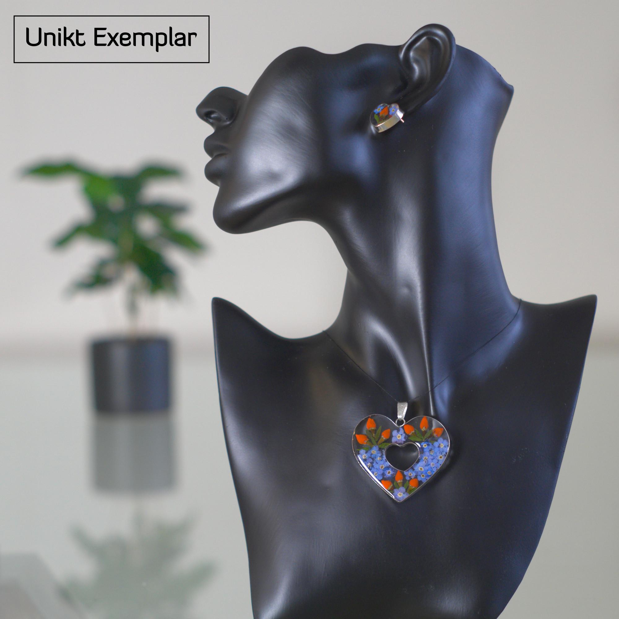 Sara - Kombination med berlock och örhängen, blå, orange, grön