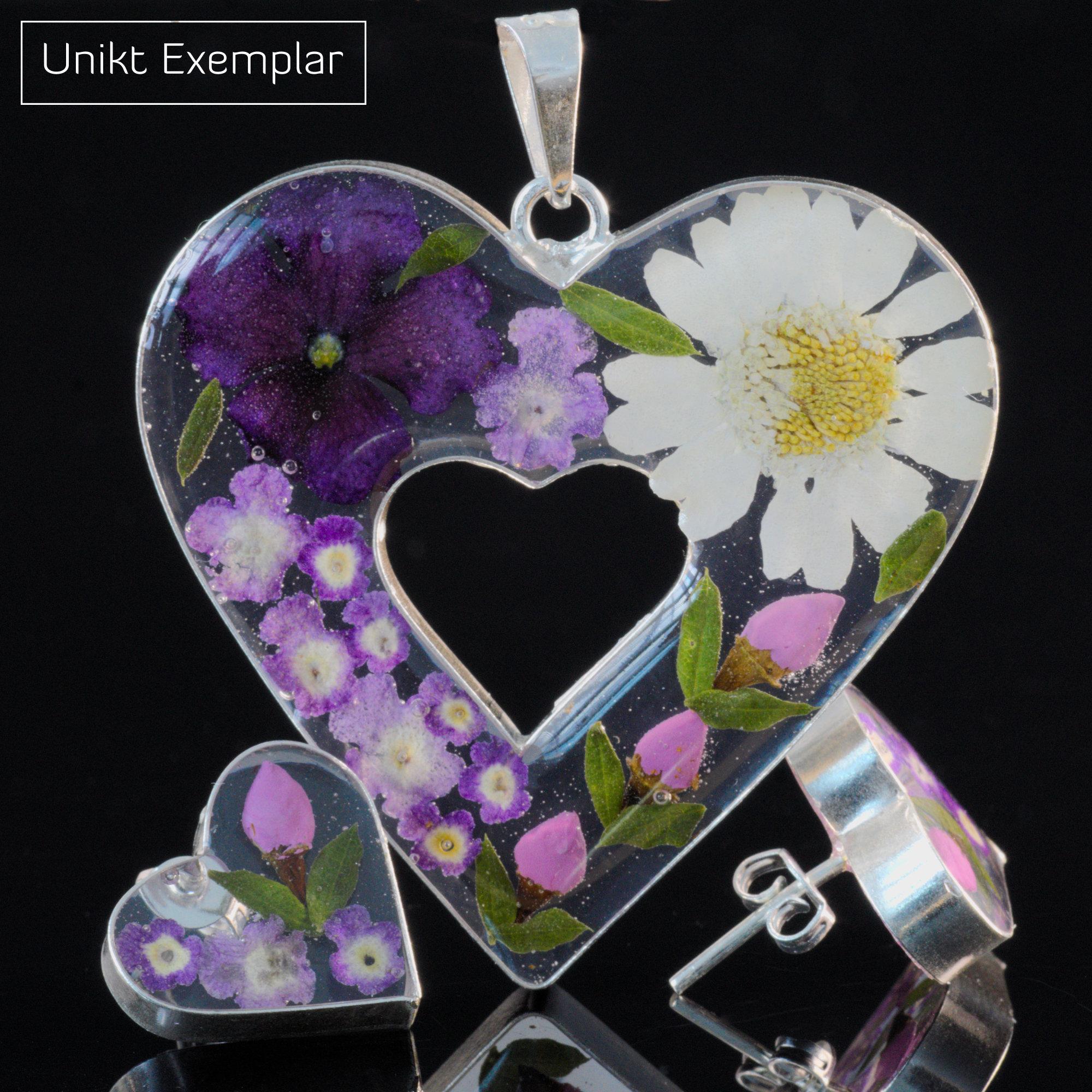Julia - Kombination med berlock och örhängen, rosa, lilla, vit