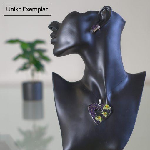 Carlota - Kombination med berlock och örhängen, lila, grön