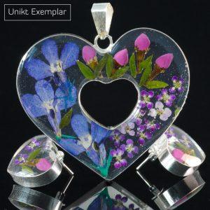 Veronica - Kombination med berlock och örhängen, blå, lila, grön
