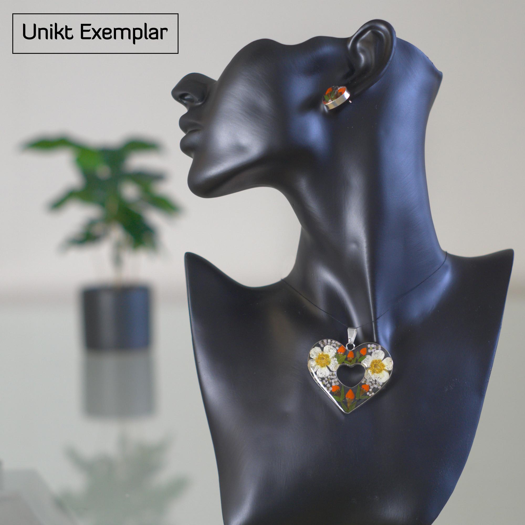 Dulce - Kombination med berlock och örhängen, orange, grön, beige