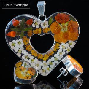 Romina - Kombination med berlock och örhängen, gul, beige, orange