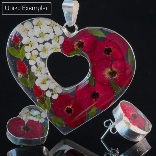 Alba - Kombination med berlock och örhängen, röd, vit, grön