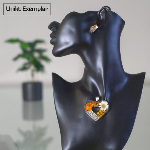 Olivia - Kombination med berlock och örhängen, orange, vit