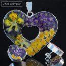 Emma - Kombination med berlock och örhängen, lila, gul, grön