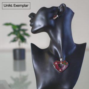 Regina - Kombination med berlock och örhängen, röd, grön