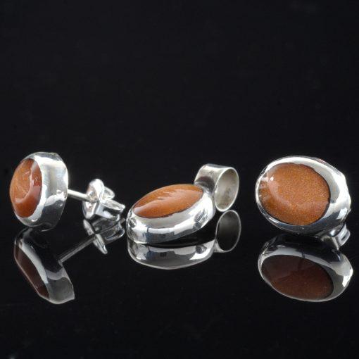 Aloise - Kombination med berlock och örhängen, silver, ljusbrun