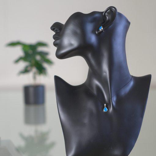 Aditi - Kombination med berlock och örhängen, silver, blå