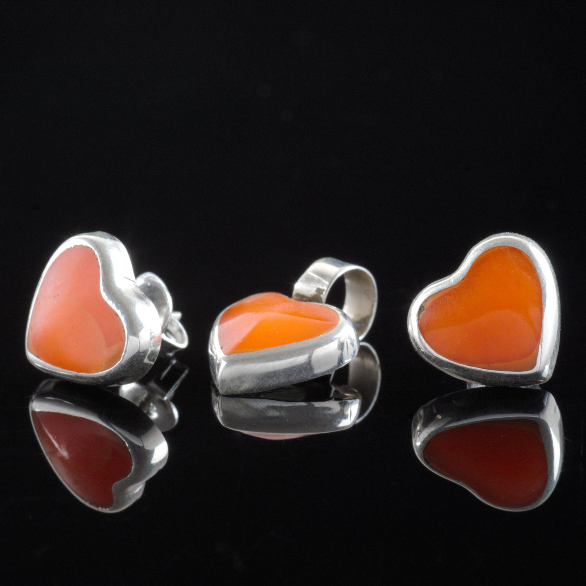 Apsara - Kombination med berlock och örhängen, silver, orange