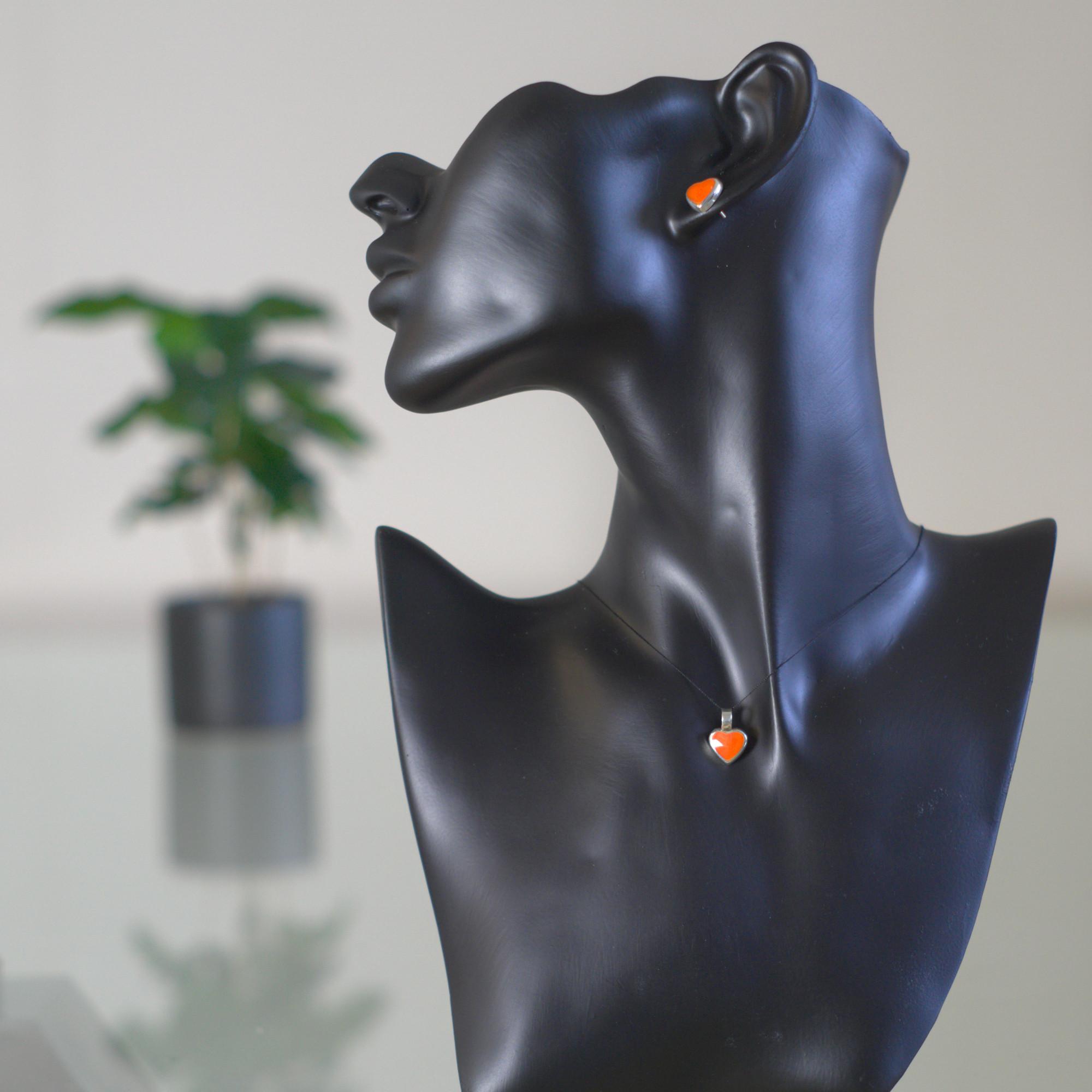 Apsara - Kombination med berlock och örhängen, silver, blå