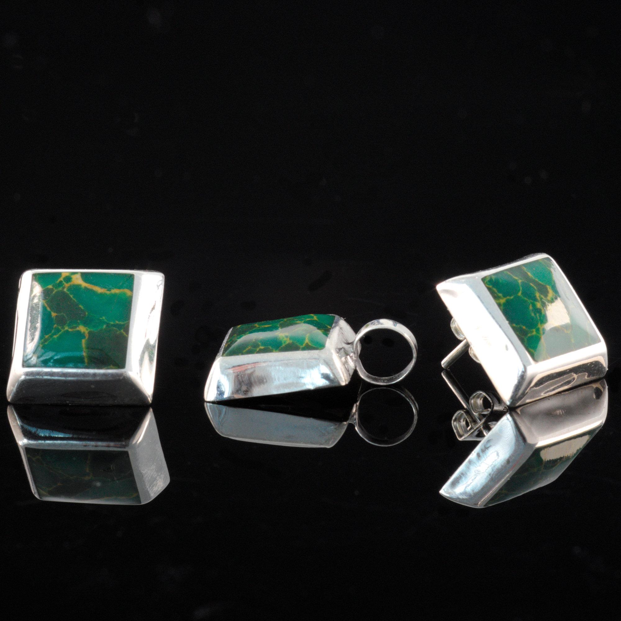 Ada - Kombination med berlock och örhängen, silver, grön