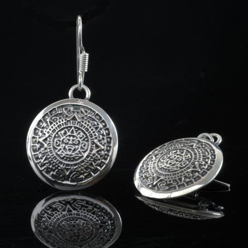 Tzolkin - Silver örhängen med mayas heliga kalender