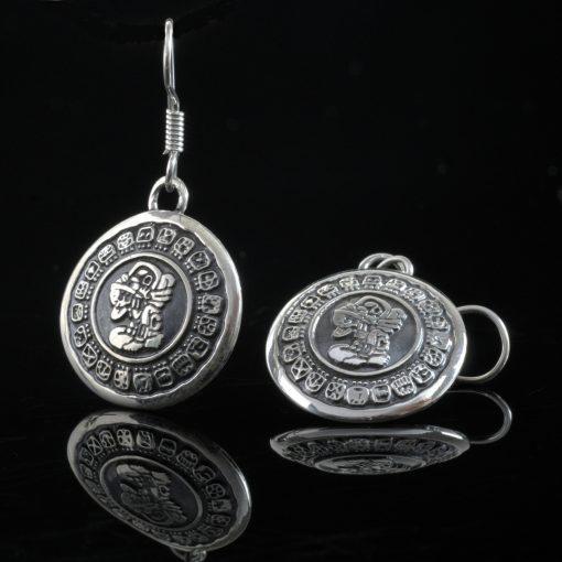 Haab - Silver örhängen med mayas civila kalender